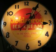 Rare Vintage Goldenrod Ice Cream Wall Clock Original Working Glass Ad Sign Old