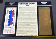 Willabee And Ward 22kt Gold Super Bowl Tickets Super Bowl Iv