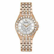 Bulova Womenand039s Rose Gold-tone Crystal Baguette Watch - 98l268
