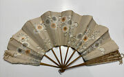 Antique Hand Painted Floral Handmade Parchment Paper String Ladies Hand Fan
