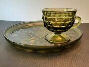 Vtg. Single Cube Olive Green. Set Of 4 Plates And Cups