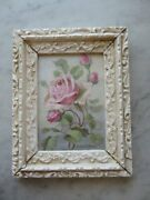 Sweet Little Christie Repasy Canvas Print Pink Roses Old Gesso White Frame