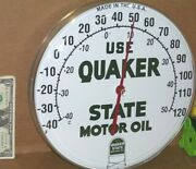 Quaker State Motor Oil - Gas Gasoline Auto Repair Shop Thermometer Sign Made Usa