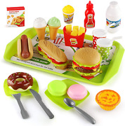 Kids Pretend Play Food Set,fast Food Toy For Toddler,hamburger And Dessert