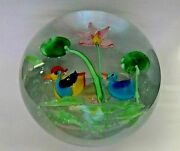 Large Vintage Murano Art Glass Paperweight Lampwork Ducks And Flower W/ Label