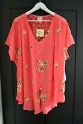 Fig And Flower Blouse Tunic Top Like Silk Rayon Blend Coral Lace Plus Size 2x