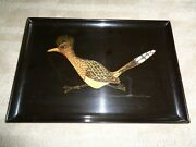 Mid Modern Couroc Of Monterey Rectangle Serving Tray Black Base Wood Inlaid Road