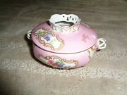 Royal Bayreuth Dresser Hair Pin Receiver Pink Base Gold Accents Flowers Birds Sc