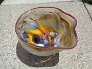 Large Free Form Studio Art Glass Chihuly Style Multiple Colors Rippled R. Hoges