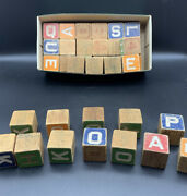 Box Of Vintage Wooden Toy Blocks With Letters/numbers/pictures. 35 Blocks