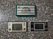 Vintage Lot Of 3 Game And Watch Green House - Parachute - Turtle Bridge
