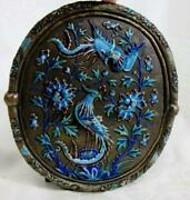 Antique Oval Asian Brass Mirror With Raised Enamel Birds And Flowers See Details
