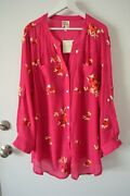 New Fig And Flower Embroidered Peasant Blouse Shirt Top Tunic Plus Size 1x