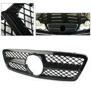 1-pin Front Grill Grille Abs For Mercedes Benz C Class W203 2001-06 Gloss Black