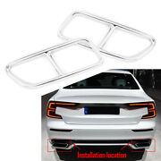 Exhaust Muffler Tail Pipe Cover Trim Stainless Steel For Volvo S60 V60 2014-2019