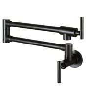 Oil Rubbed Bronze Pot Filler Wall Mounted Kitchen Faucet Double Joint Swing Arm