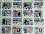 Retro Style Cotton Fabric Lot Of 3 Yards Cats Cars Food Hot Dogs Pop Corn Movies