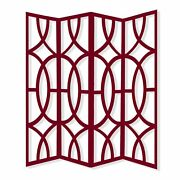84 X 2 X 84 4 Panel Contemporay Red Wood Screen