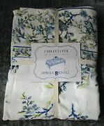 April Cornell Cotton Blue And Yellow Floral And Bird Tablecloth 60 X 120 New