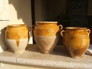 Stunning Collection Three Antique French Confit Pot Yellow Mustard Glazed 19th