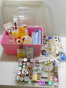 Vintage Plastic Large Pink Sewing Box With Two Trays Filled With Notions And Tools