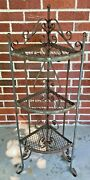 Vintage Antique Iron Plant Stand 3 Tier Scroll Rusty 40andrdquo