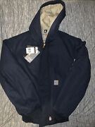 Small Fr Flame Resistent Midweight Active Quilted Hoodie Jacket Navy