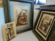 2 Vintage Egyptian Hand Painted Genuine Papyrus Professional Matted And Framed