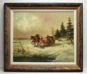 Awesome F Dinter Oil Painting Exciting Winter Sleigh Journey Signed Framed Coa