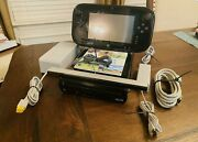 Nintendo Wii U Deluxe 32gb Black Console And Gamepad W/ Wii Sports