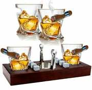 Old Fashioned Cigar Whiskey Glasses With Mounted Cigar Rest Set Cigar Cutter