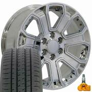 5661 Chrome 22x9 Wheels And Bridgestone Tires Set Fits 2019 And Newer Gmc And Chevy