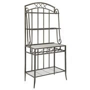 Metal Bakers Rack With Four Spacious Shelves And Wine Bottle Holder, Gray And...