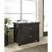 Two Drawer Wooden File Cabinet With Metal Handle Pull And Crossed Side Plank,...