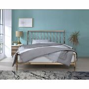 Industrial Metal Queen Bed With Tapered Legs And Slated Headboard Copper