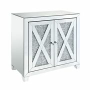 Wooden Console Table With Storage Spaces And X Shape Trims, Silver