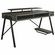Led Back Light Wooden Gaming Desk With Can Cooler And Usb Port, Taupe Gray