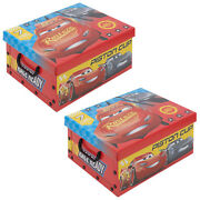 Set Of 2 Disney Cars Cardboard Storage Boxes With Lids Kids Arts Crafts Toys Box
