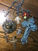 Lot Of Cool Old Religious Items Crosses Crucifix Vintage Sterling Gold Fill