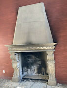 Antique 11 Foot Italian Faux Fireplace Mantel Carved Retro Modern Clawfoot 70's