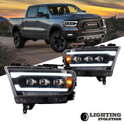 Led Reflector Headlights For 2019-2021 Dodge Ram 1500 Sequential Lh+rh Assembly
