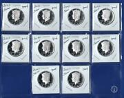 2012 S - 2021 S Silver Proof Kennedy Half Dollar Set - 10 Coins