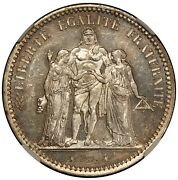 1873-a France 5 Francs Silver Coin - Ngc Ms 63 - Km 820.1