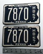 Pennsylvania - 1957 Motorboat Matched Pair Of License Plates - Choice Condition