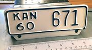 Kansas - 1960 Near Mint Low Number Motorcycle License Plate Choice Example