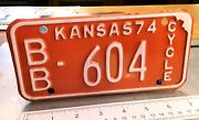 Kansas - 1974 Motorcycle License Plate - Great Original, From Bourbon County