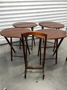 Vintage Wood Folding Tv Trays, Tables W/ Stand Set Of 4 Bombay Company