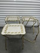 Set Of 3 Vintage Cal-dak Tv Trays W/rolling Stand, Metal Trays