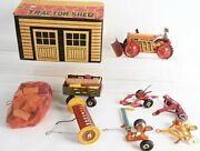 1941 Marx Mechanical Farm Tractor Set With Shed And Implements