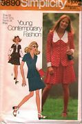 9890 Vintage Simplicity Sewing Pattern Misses 1970s Two Piece Dress Skirt Top